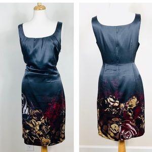 Tahari Satin Sheath Midi Dress